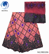 BEAUTIFICAL peach fabric bazin riche getzner 2019 jacquard brocade fabric cotton fabric with scarf 7yards/lot for dress ML39B32 liulanzhi african bazin riche getzner fabric soft embroidery blue lace fabric brocade fabric cotton 7yards per lot ml39b30