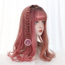 "20""Long Wave Cosplay Lolita Wig With Bangs Red Purple Ombre Synthetic Hair Daily Harajuku Cosplay Wigs For Women Heat Resistant(China)"
