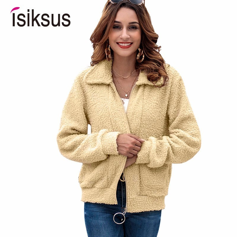 Isiksus Fleece Bomber   Jackets   Women Long Sleeve Autumn Winter Fur Coats And   Jacket   Female Casual   Basic     Jackets   For Women WJ004