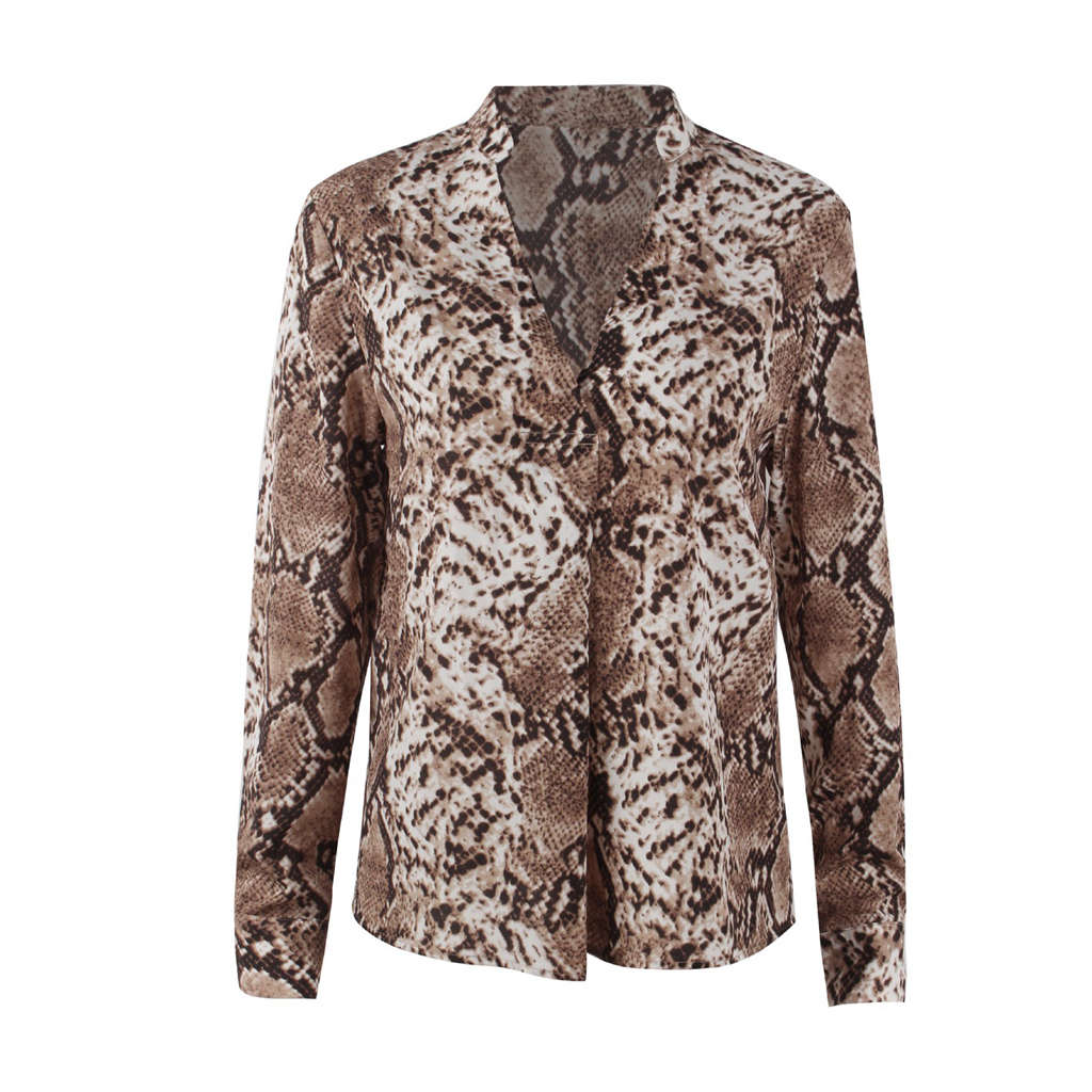 Women Fashion Vintage Leopard Snake Skin Print  Long Sleeve V Neck Split Button Shirt Loose Casual Shirts Chic Tops