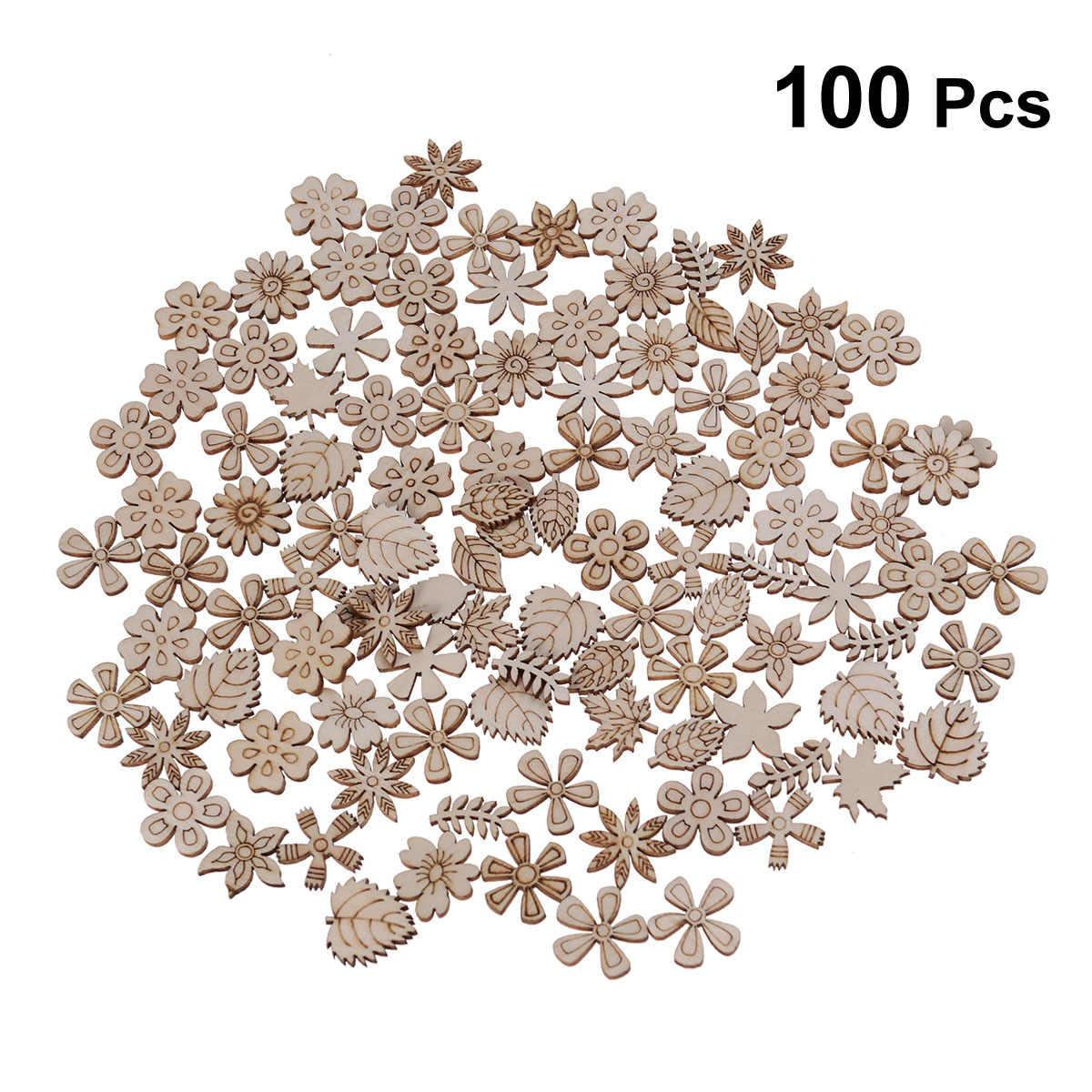100 шт 20 мм DIY Дудл учебная игрушка маленький натурального дерева ломтик украшения для скрапбукинга самодельный декоративный дизайн (смешанный принт)
