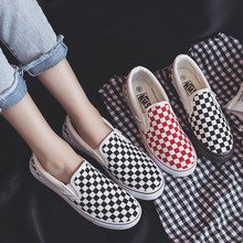 Jrnnorv Canvas Shoes For Girls Fashion Checkered Pattern Women Vulcanize Shoes Shallow Non-slip Female Sneakers Rubber