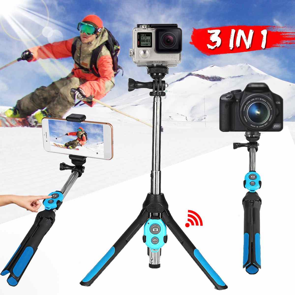 3 em 1 tripé de câmera bluetooth selfie vara monopé sem fio para gopro 5 6 7 esportes câmera slr para iphone xr xs x 8 smartphones
