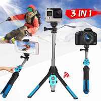 3 in 1 Camera Tripod bluetooth Selfie Stick Wireless Monopod For Gopro 5 6 7 Sports SLR Camera For iPhone XR XS X 8 Smartphone