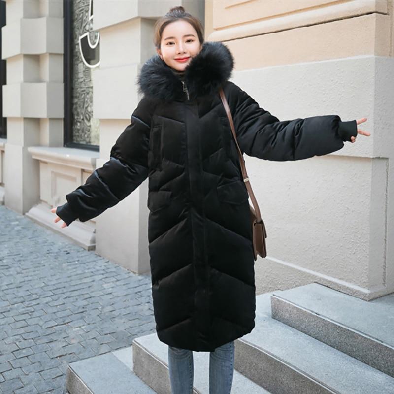 Taille Coton Manteau Noir D'hiver Outwear Plus kaki Veste bleu Femelle Parkas Nouvelle De La Femmes rose Chaud Longue Fourrure Épais wnaxpw1O