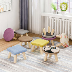 Stool Originality Small The Bench Low Stool Solid Wood Household A Living Room Fabric Art Small Stool Round Stool Sofa Stool