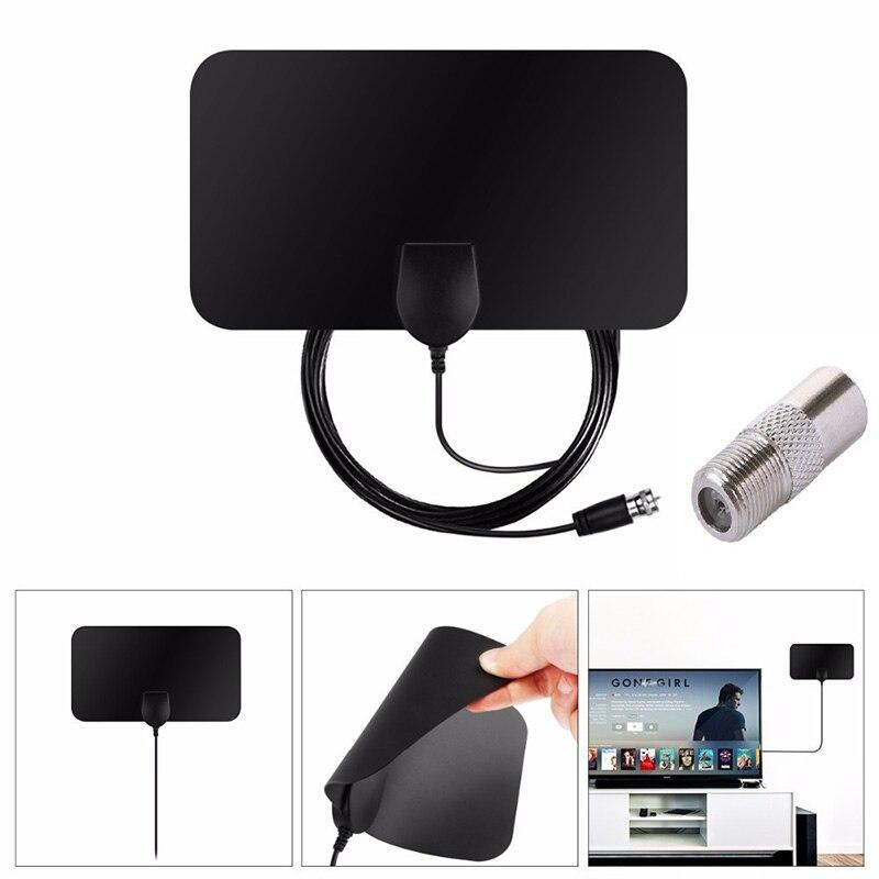 CLAITE NEW HD Signal Amplifier Digital TV Antenna Indoor Digital Conversion Head HDTV VHF UHF Portable Flat 1080P 50 Miles Range