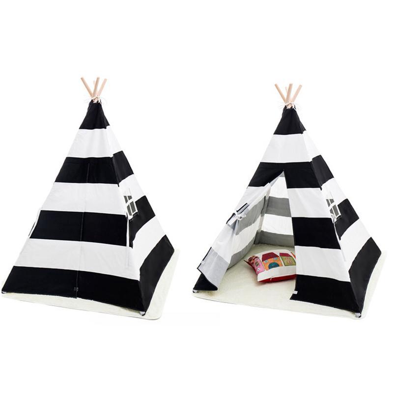 Rayure toile enfant tipi Portable pliant extérieur château tente indien Triangle tente enfants maison jeu jouet tente