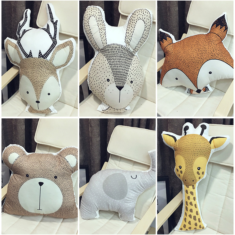 Kids Cute Educational Cushion Animals Baby Pillow Baby Room Decor Child Stuffed Soft Toys For Newborns Christmas Gifts 1pcs