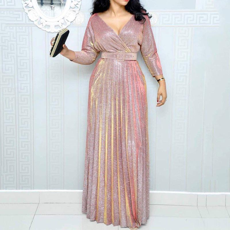 2019 Reflective Long Dress Women Pleated Sexy Deep V Neck Elegant Spring High Waist Belt Glitter Evening Party Pink Maxi Dresses