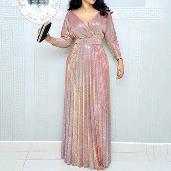 387e19336 2019 Reflexivo Longo Vestido Plissado Mulheres Sexy Profundo Decote em V  Primavera de Cintura Alta Cinto de Moda Festa À Noite Elegante Robe Rosa  Maxi ...