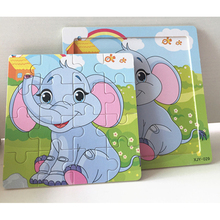 DDWE 16PCS 3D Puzzle Jigsaw Wooden Toys Baby Kids Cartoon Animals Puzzles Child Educational Toys For Children Gifts Learn Games
