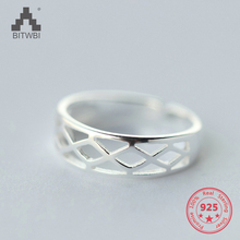 Korea Hot Style S925 Sterling Silver Simple Retro Vintage Geometric Open Ring Jewelry for Women цена 2017