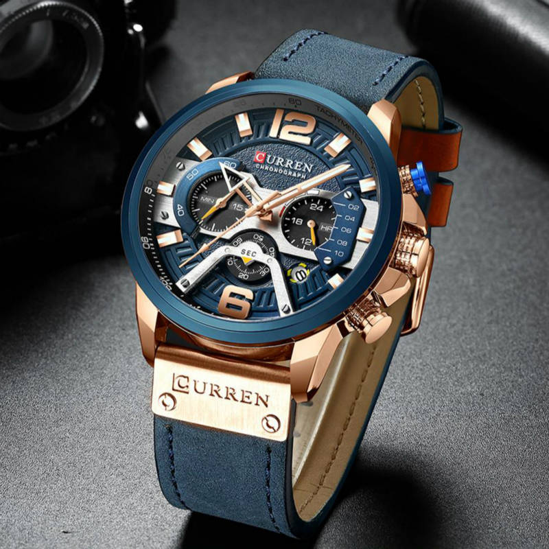 Sports Watches for Men CURREN Casual Blue Top Brand Luxury Military Leather Wrist Watch Man Clock Fashion Chronograph WristwatchSports Watches for Men CURREN Casual Blue Top Brand Luxury Military Leather Wrist Watch Man Clock Fashion Chronograph Wristwatch