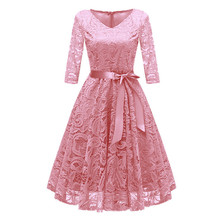 2019 Annual Meeting Women Vintage Dress Princess Floral Lace Cocktail V-Neck Party Aline Swing Dress women s costume vintage royal clothing queen cinderella european women s wear retro annual meeting theatre court dress drama