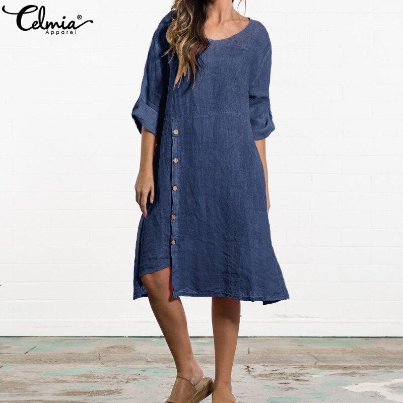 Cellia/2019 летнее винтажное женское платье до середины икры, Повседневное платье с длинными рукавами и пуговицами, Асимметричный свободный хал...