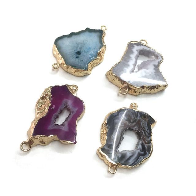 Pendentifs Agates naturels pendentifs connecteur pendentifs pour la fabrication de bijoux accessoires de bricolage taille de colliers 20x40mm-30x45mm