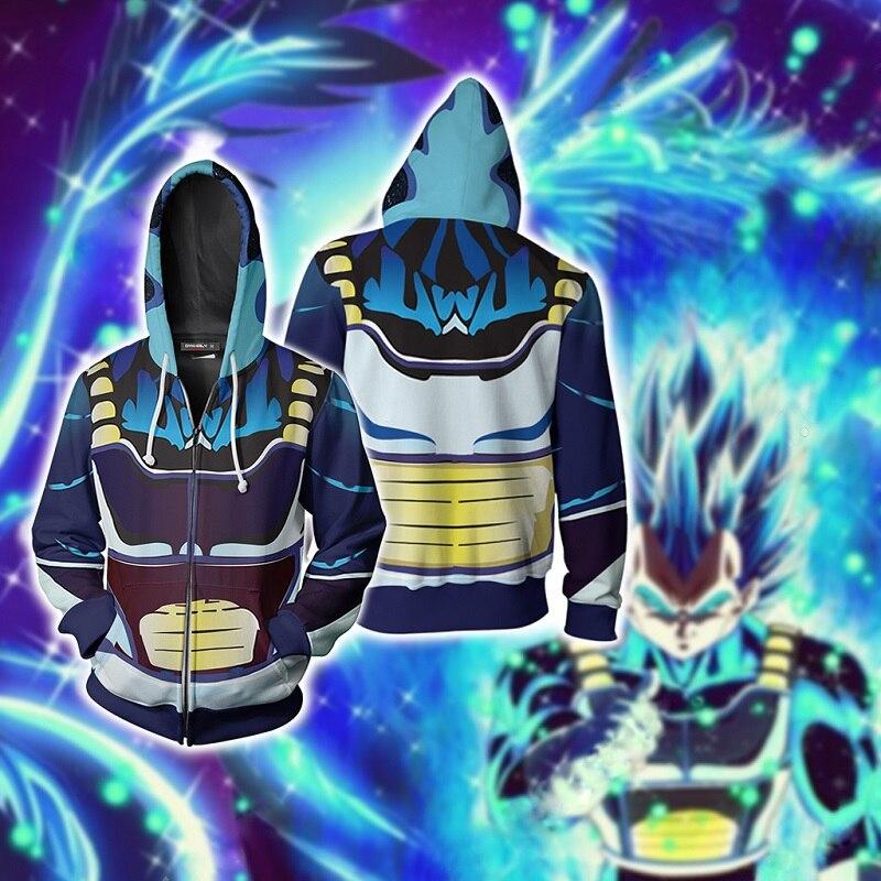 Harajuku 3D imprimé à capuche pour l'automne/hiver 2019 dragon ball Z bejita Cosplay zip à capuche top lâche occasionnel zip à capuche