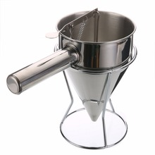 Stainless Steel Small Octopus Balls Making Funnel Cupcakes Baking Dispenser with Rack for Kitchen Utensils Funnel Tools