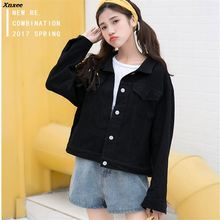 New 2018 Spring Autumn Women Denim Jackets Casual Letter Printed Coat Female Jean Jacket Outerwear Basic Coats White Black Xnxee