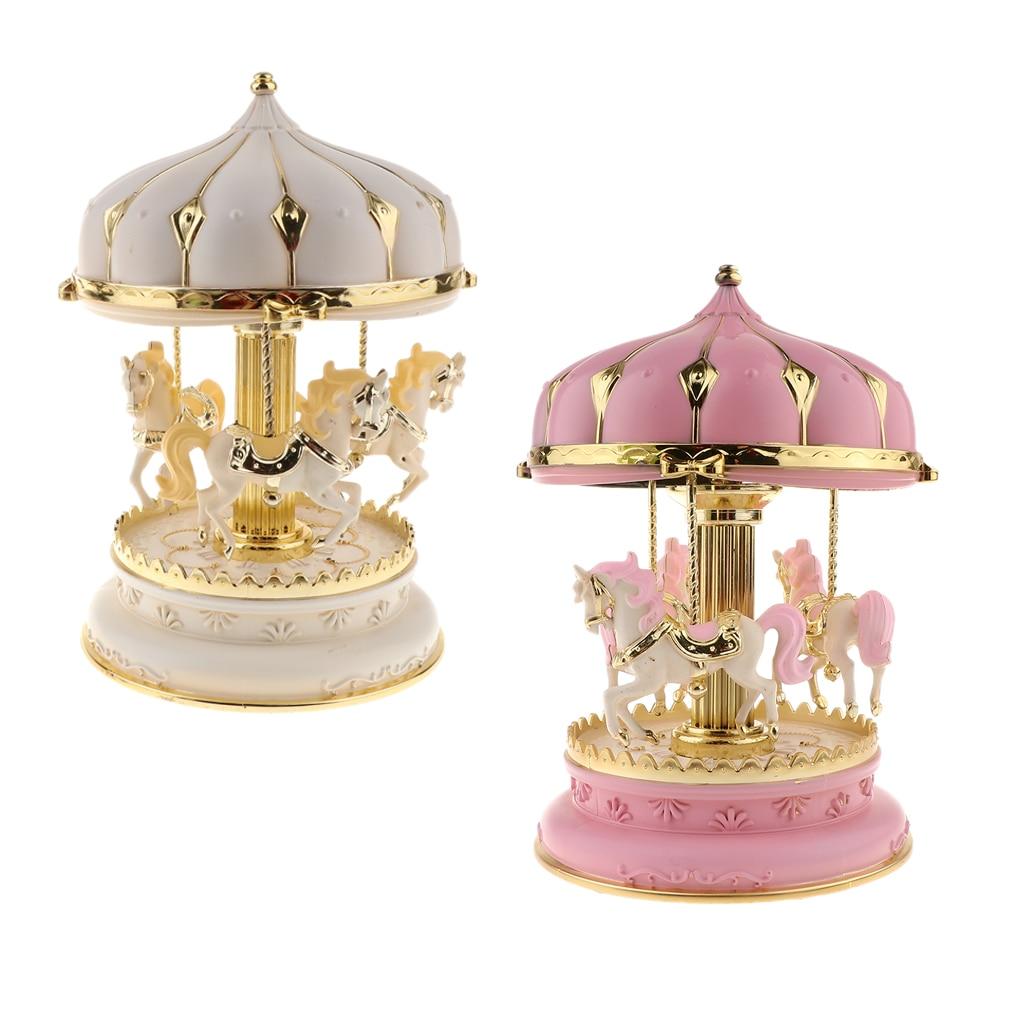2 pièces manège manège boîte à musique jouet carrousel rotatif cheval horloge boîte à musique cadeaux d'anniversaire de mariage décor à la maison