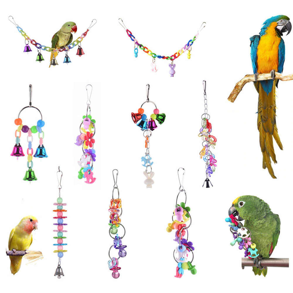 8 Styles Parrot Toys Wood Birds Standing Chewing Rack Toys Bead Ball Heart Star Shape Parrot Toy Bird Toys Accessories Supplies