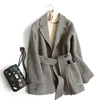 TiToTaTo Wool Women Overcoat Slim Woolen Autumn New Solid Double-sided Woman Short Hand Worker Line Thin Japanese style