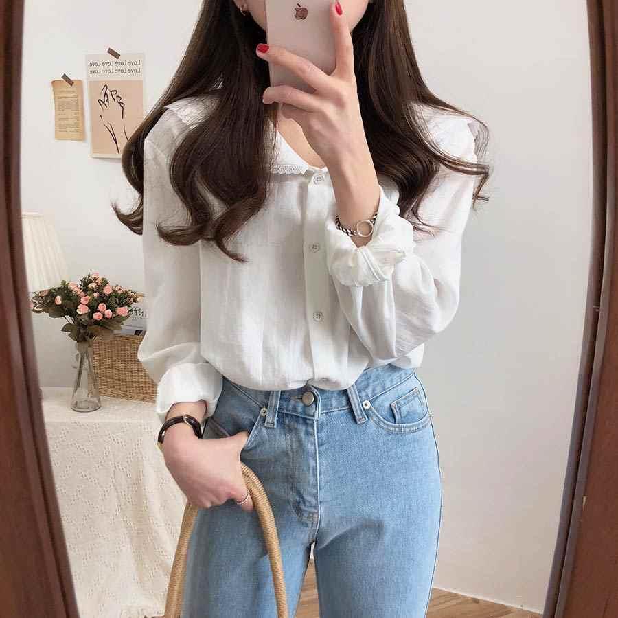 S-XL Spring white femme long Sleeve Patchwork cotton Women Shirts Casual Loose Women cute Blouses Female Top vetement femme