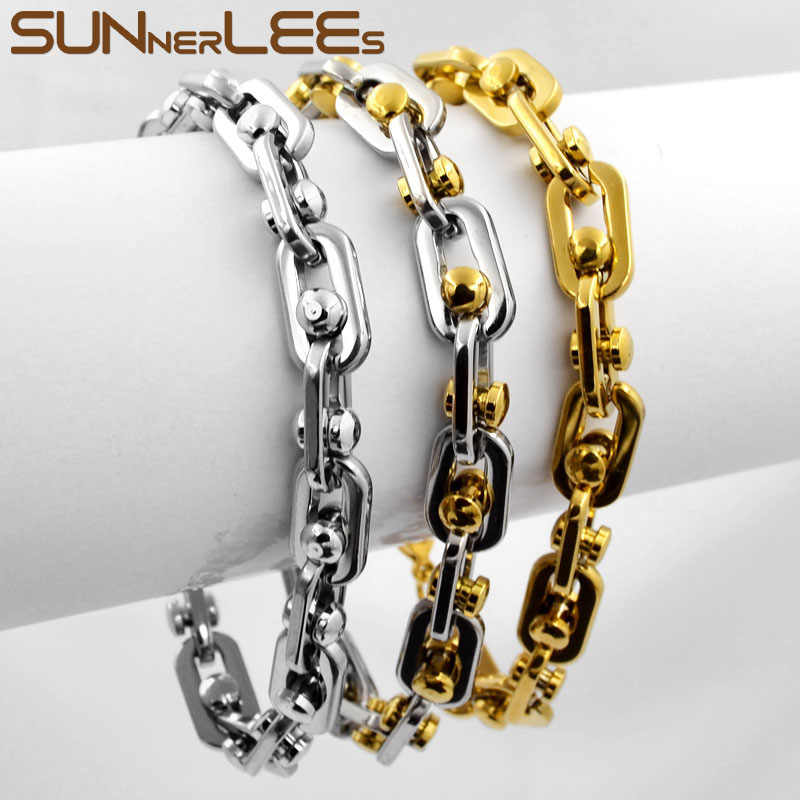 SUNNERLEES Fashion Jewelry 316L Stainless Steel Bracelet 9mm Geometric Beads Link Chain Silver Gold Men Women Gift SC74 B