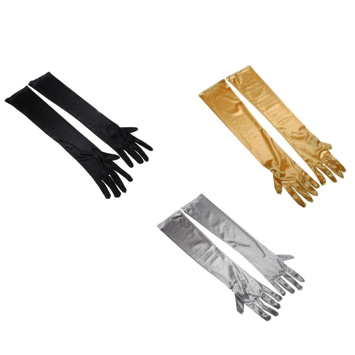 Gute QualitäT Frauen Stretch Satin Über Ellenbogen Lange Handschuhe Abend Party Handschuhe-3 Paare/satz black & Silbrig Grau & Goldene
