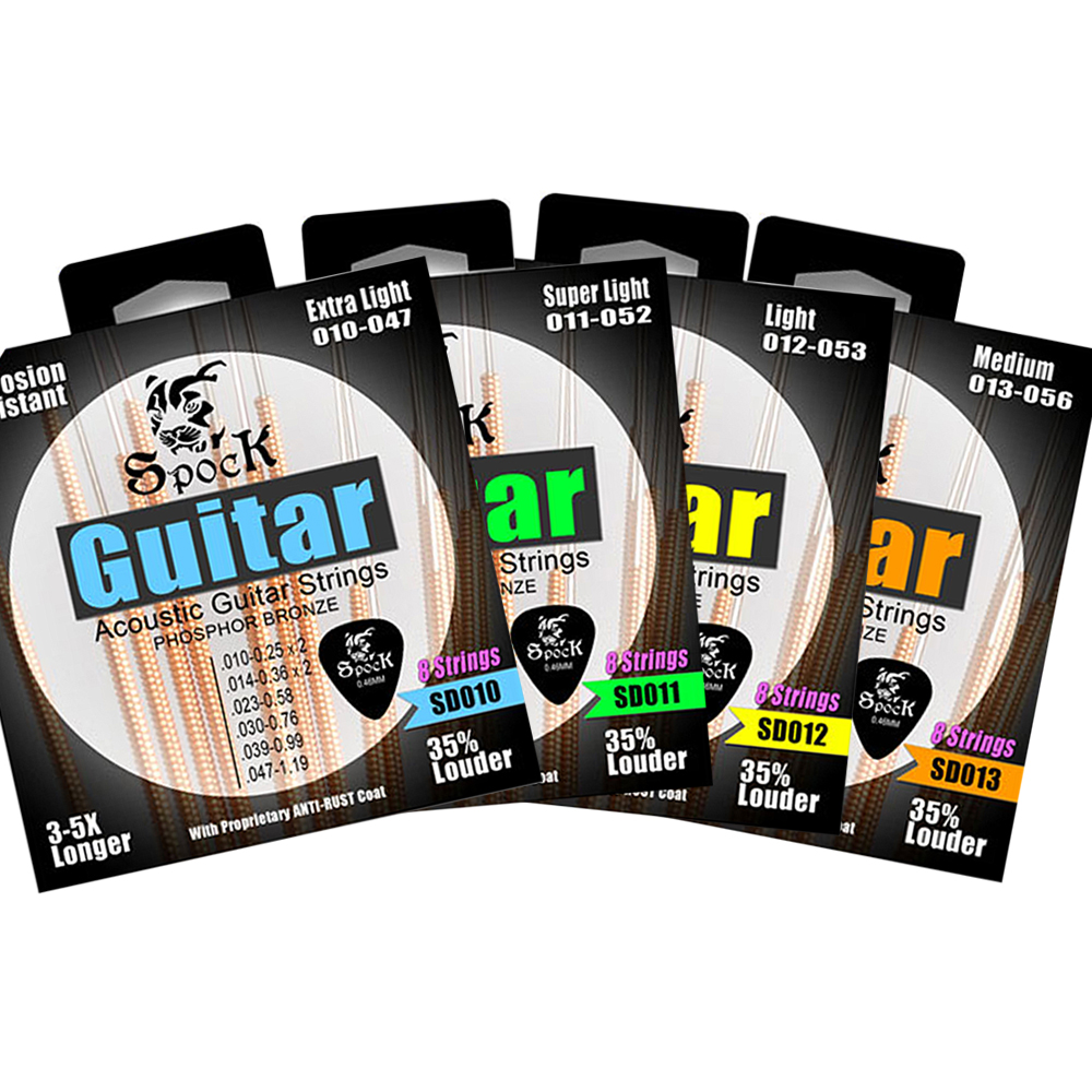 Spock Acoustic Guitar Strings with Extra E-1st B-2nd Strings and Guitar picks Plated High Carbon Steel Core Phosphor Bronze