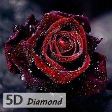 5D DIY Алмазные брюки новейший цветок крест Сияющий красная роза рукоделие круглый дрель алмазная живопись наборы вышивки крестом домашний декор