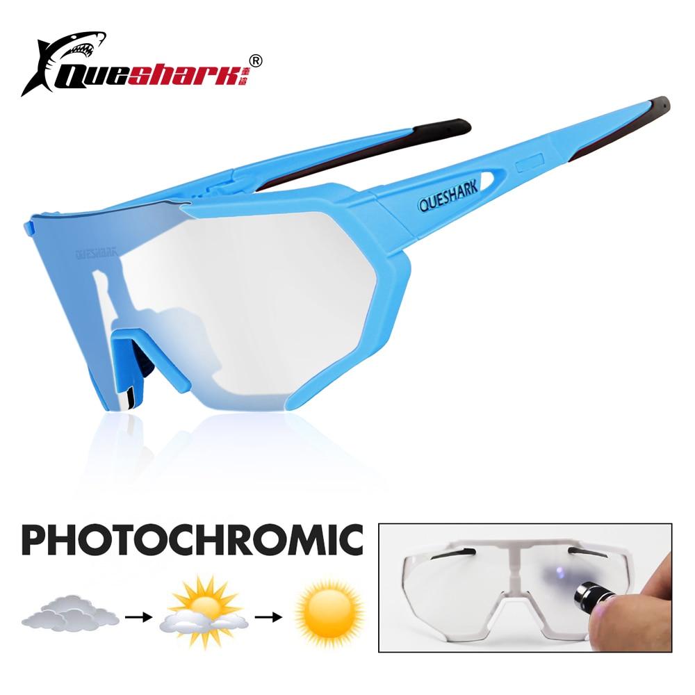 febd999847 QUESHARK 2019 nuevo diseño fotocromáticos gafas de ciclismo para hombre  mujer bicicleta gafas ciclismo gafas de sol 4 lente espejo UV400 Goggle