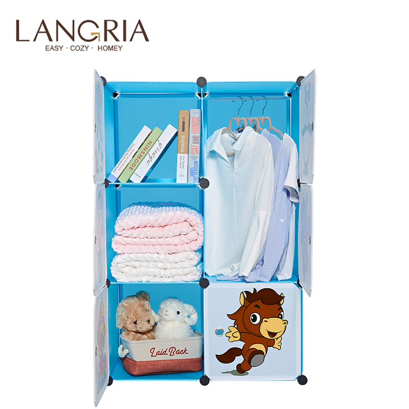 LANGRIA 6-Cube Closet Storage Organizer For Kids Stackable Plastic Cube Shelves Multifunctional Modular Cupboard Cabinet Home