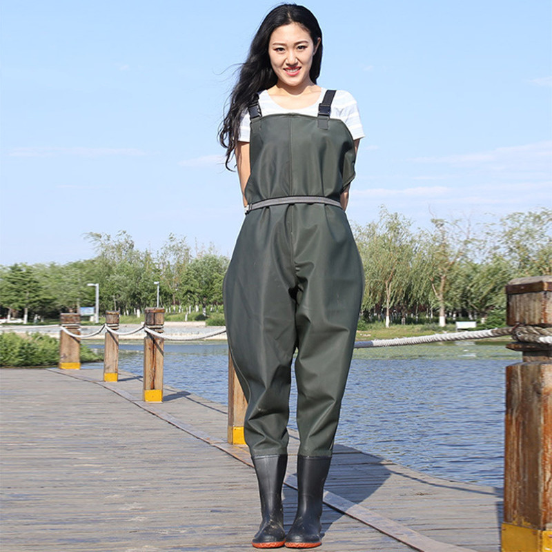 Waterproof Fishing Thickening Half-body PVC Waders Pants Non-slip Boots Women Beach Camping Hunting Wading Jumpsuit A9251