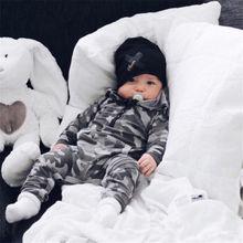 0-24M Newborn Kids Baby Boys Zipper Romper Jumpsuit Playsuit Hooded Clo