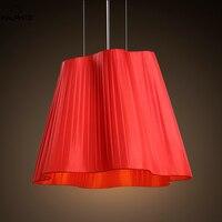 Nordic Rode lampshadeIron Hanglampen woonkamer Slaapkamer bed Armaturen Hanglamp Bar Industriële Decor armaturen