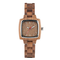 Square Shape Dial Ladies Watches Casual Brown Wood Watch Women Wooden Band Timepieces 2019 Luxury Bracelet Clasp Female Gifts