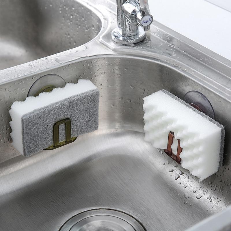 Drop Shipping คุณภาพสูง ABS PVC ดูดถ้วยอ่างล้างจานฟองน้ำผู้ถืออ่างล้างจานสบู่ Rack Drain Rack