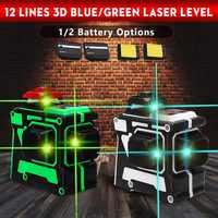 12 ligne Vert/laser bleu Niveau avec 1/2 Batterie 638nm/808nm 3D 360 Degrés Rotation Auto Nivellement Horizontal laser vertical faisceau