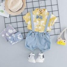Summer Baby Boy Fashion Clothes Infant Cartoon Bear Pattern T Shirt Shorts Bib Pants 2pcs/sets Kids Garment Children Sport Suits