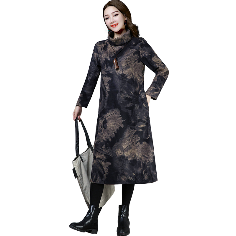 2019 New Women Spring Autumn Dresses Turtleneck Printed Female Long Sleeve Vintage Robe Dress Vestido 55