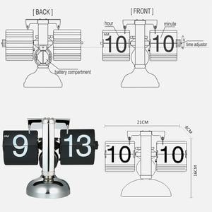 Image 5 - 플립 디지털 시계 소규모 테이블 시계 레트로 플립 시계 스테인레스 스틸 플립 내부 기어 운영 석영 시계 홈 장식 탁상시계 clock