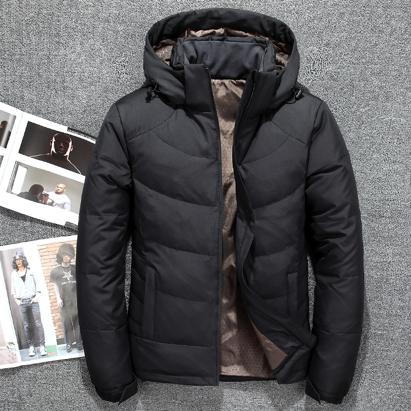 8d12f0e1b63 Fashion men s hooded down jackets Autumn Winter mens Solid color thick warm  White duck down coats male windproof zipper outwears