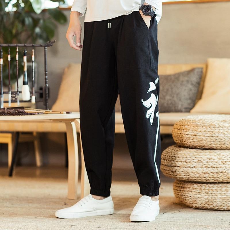 #4505 2019 Frühling Baumwolle Leinen Hosen Männer Chinesische Stickerei Plus Größe Leinen Harem Hosen Herren Lose Hohe Taille Vintage Hosen Chinesische Aromen Besitzen