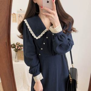 Image 3 - Vintage Cotton Dresses Women Spring Autumn Dress 2019 Design Patchwork Hollow Out Lace Cute Preppy Girls Lady Cute Dress Long
