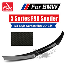 For BMW F90 M4 Style Black Rear Trunk Spoiler Tail Wing 5-Series Carbon Fiber Car Lip Auto Styling 19+