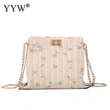 handbag Beach Bag Straw Bucket White Women Weave Flower Embroidery Crossbody Bag High Quality Small Straw Handmade Handbag 2019