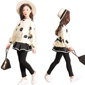 Image 1 - Kids Clothes Sets for Girls Long Sleeve Coat+ Black Color Elastic Skirt Pant Children Clothing Suits Spring Autumn 2pc 3 10 ages