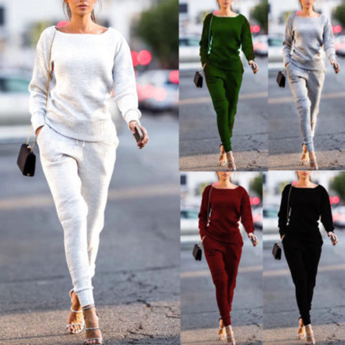 2Pcs Women's Lady Tracksuit 2019 New Autumn Winter Spring Soft Loose Hoodies Sweatshirt Pants Sets Sport Wear Casual Suit